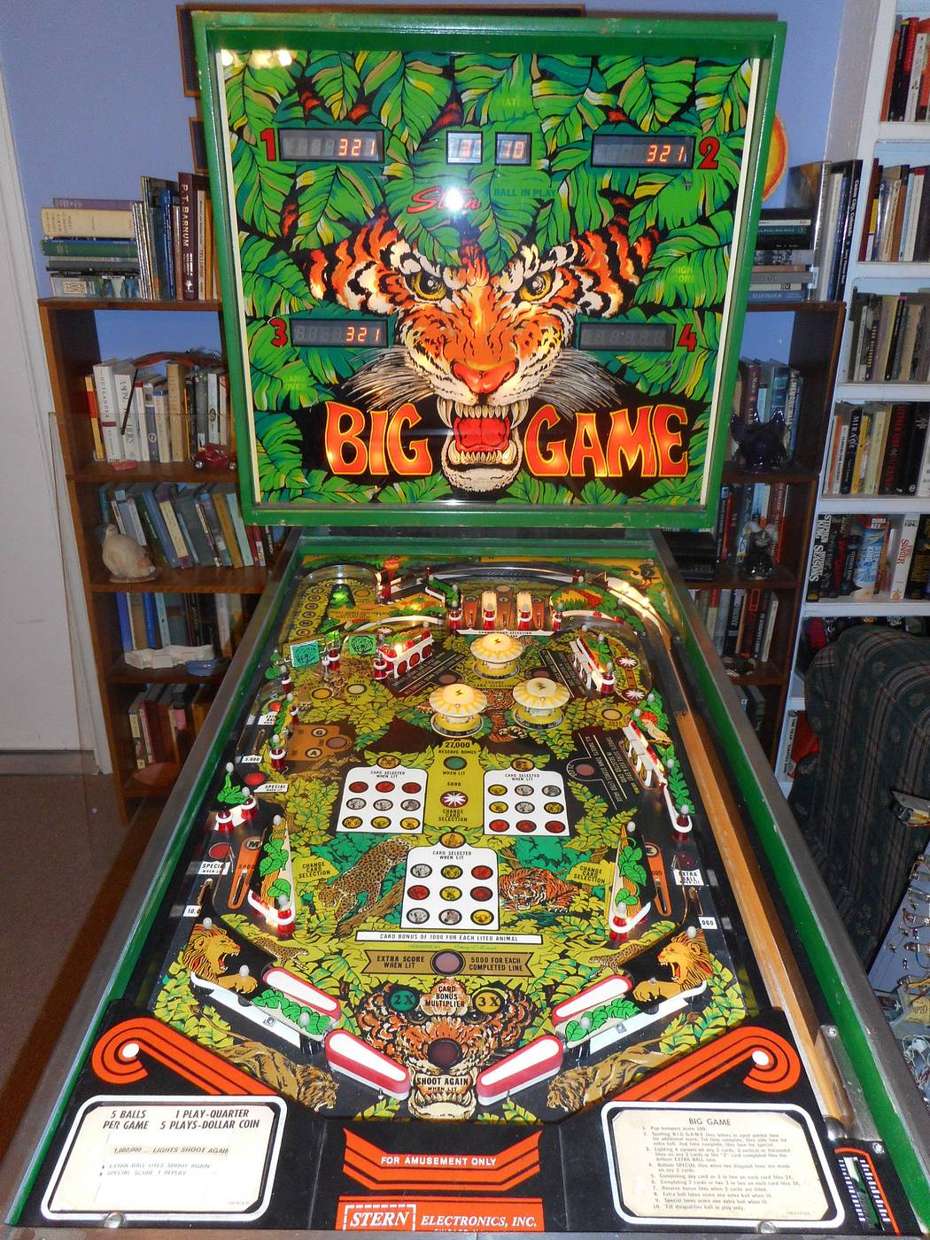 For sale or Trade: Stern Big Game Custom Playfield Pinball - for
