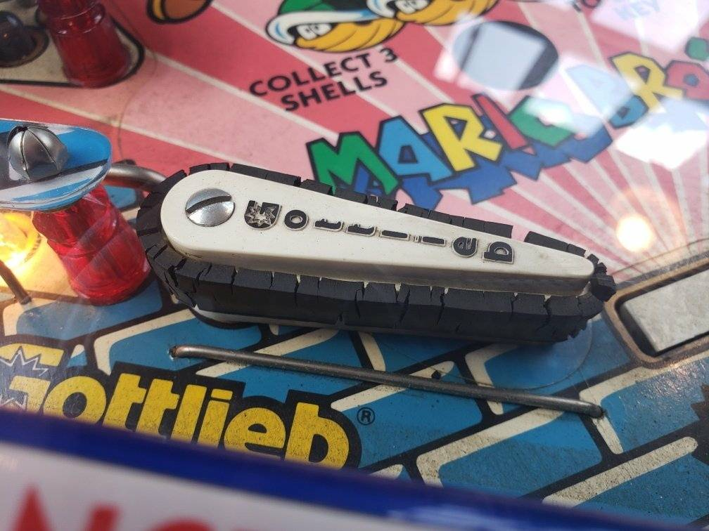 Pinball flipper with a cracked rubber ring