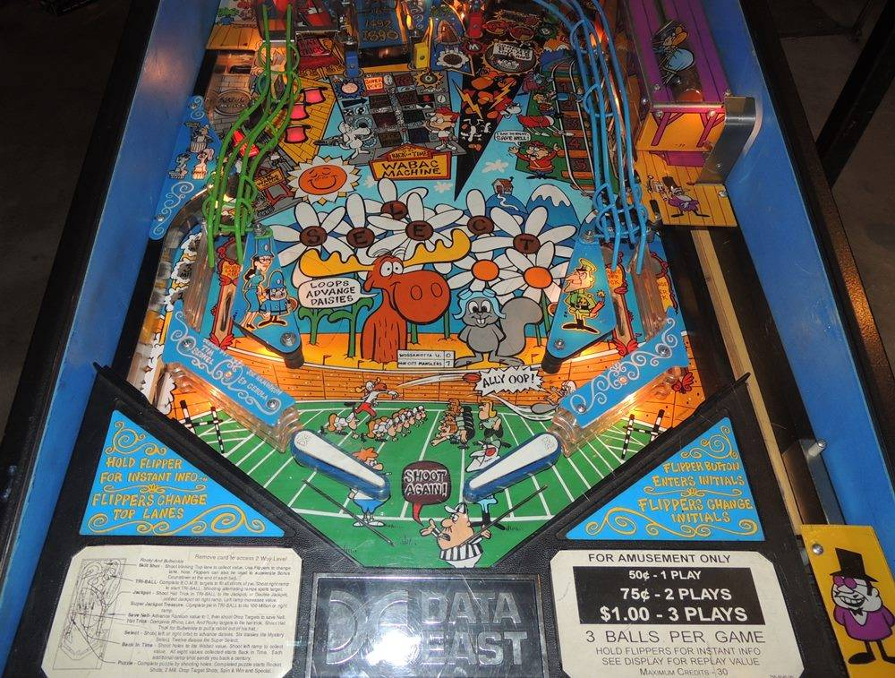 rocky and bullwinkle pinball machine for sale